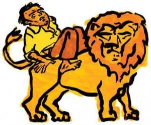 man-riding-lion